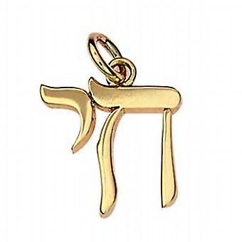 9 قيراط الذهب 15x15mm العبرية تشاي كلمة الحياة قلادة أو سحر