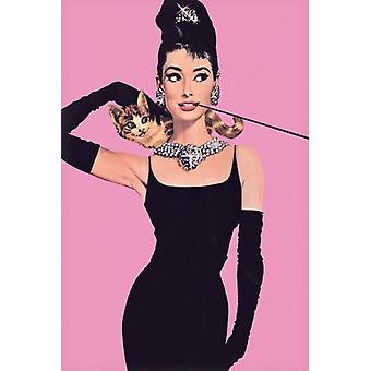 Audrey Hepburn Pink Poster Poster Print
