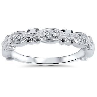 1 / 10ct diamante Vintage casamento anel 14K ouro branco