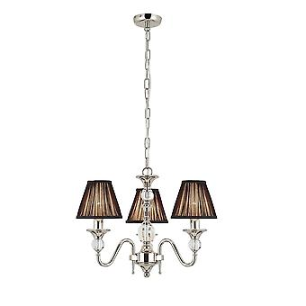 Interiors 1900 Polina Polished Nickel & Cut Crystal Chandelier, 3 Light & Beige Shades