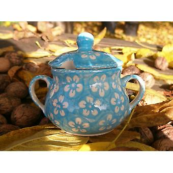 Sugar Bowl jam jar, Bolesławiec turquoise, BSN m 4368