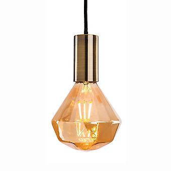 Firstlight Hudson 4 antik messing vedhæng leveres med dekorative Amber glas LED lampe 4