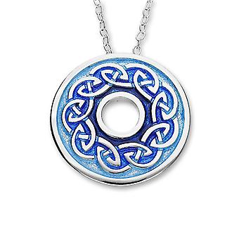 Sterling Silver Scottish Celtic Eternity Knotwork Enamel Hand Crafted Necklace Pendant - EP403