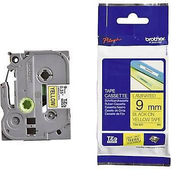 Merkinnät (ekstra vahva liima) tape Brother TZe, TZ TZe-S621 nauhan väri: keltainen fontin väri: musta 9 mm 8 m