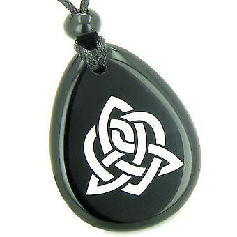 Amulett dreifacher magische Energie keltisches Triquetra Schild Knoten spirituelle Onyx Totem Anhänger Halskette