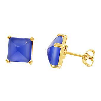 Gemshine Damen Ohrringe 925 Silber Vergoldet Chalcedon Blau 10mm