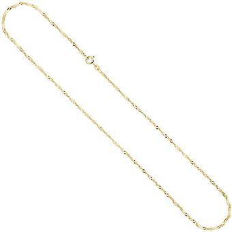 Singapore chain necklace 333 Yellow Gold 1.8 mm 42 cm gold chain spring ring clasp