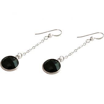 Ladies - earrings - earrings - 925 Silver - Onyx - Black - 3.5 cm