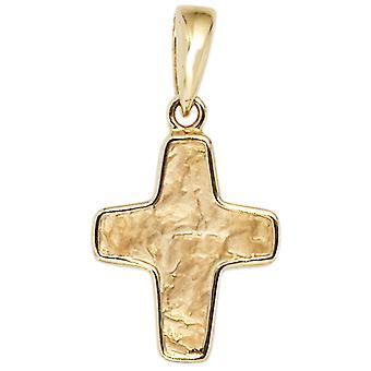 gehamerd goud hanger hanger Kruis 585 goud geel goud deel gehamerd