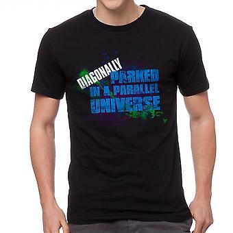 Diagonalt parkert i et parallelt univers Galaxy grafisk menn svart t-skjorte