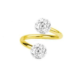 Spirale Twist Piercing Gold vergoldet Titan 1,6, Multi Crystal Ball weiß | 8-12 mm
