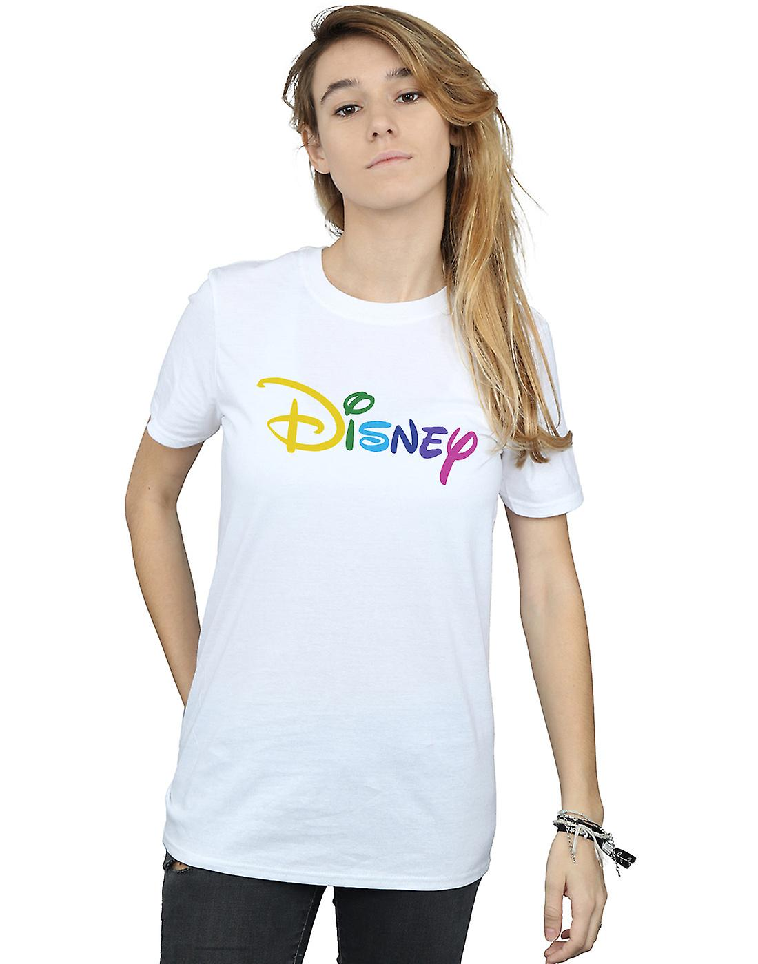 Disney Women's Colour Logo Boyfriend Fit T-Shirt