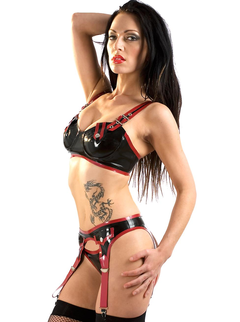 Skin Two Clothing Women's Sexy Bra Lingerie Renegade Press Studs Latex Rubber