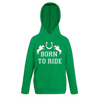 Born to Ride Horse Shoe Green Hoody Jumper