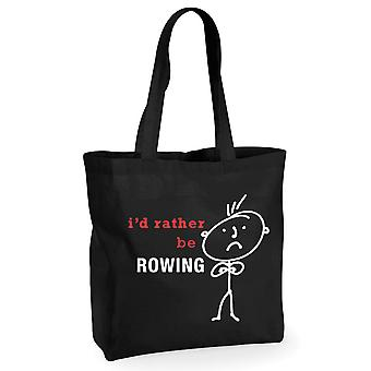Mens I'd Rather Be Rowing Black Cotton  Shopping Bag