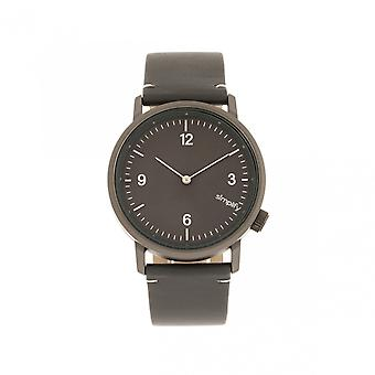 Simplify The 5500 Leather-Band Watch - Gunmetal/Charcoal
