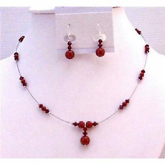 Elegante regalo romantico delicato vino gioielli perle rosso Bordeaux & cristalli Swarovski rossi Siam & perle da sposa gioielli Set