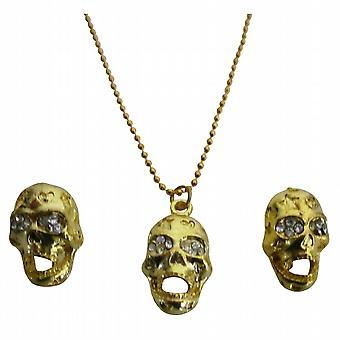 Preiswerte klassische Gold Skull Anhänger Ohrringe Halloween schickes Geschenk