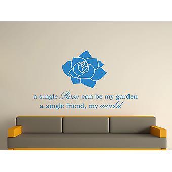 A Single Rose Wall Art autocollants - bleu olympique