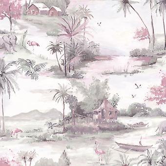 Wallpaper de Manyara elefante árboles flores selva aves barcos flamencos Holden rosa