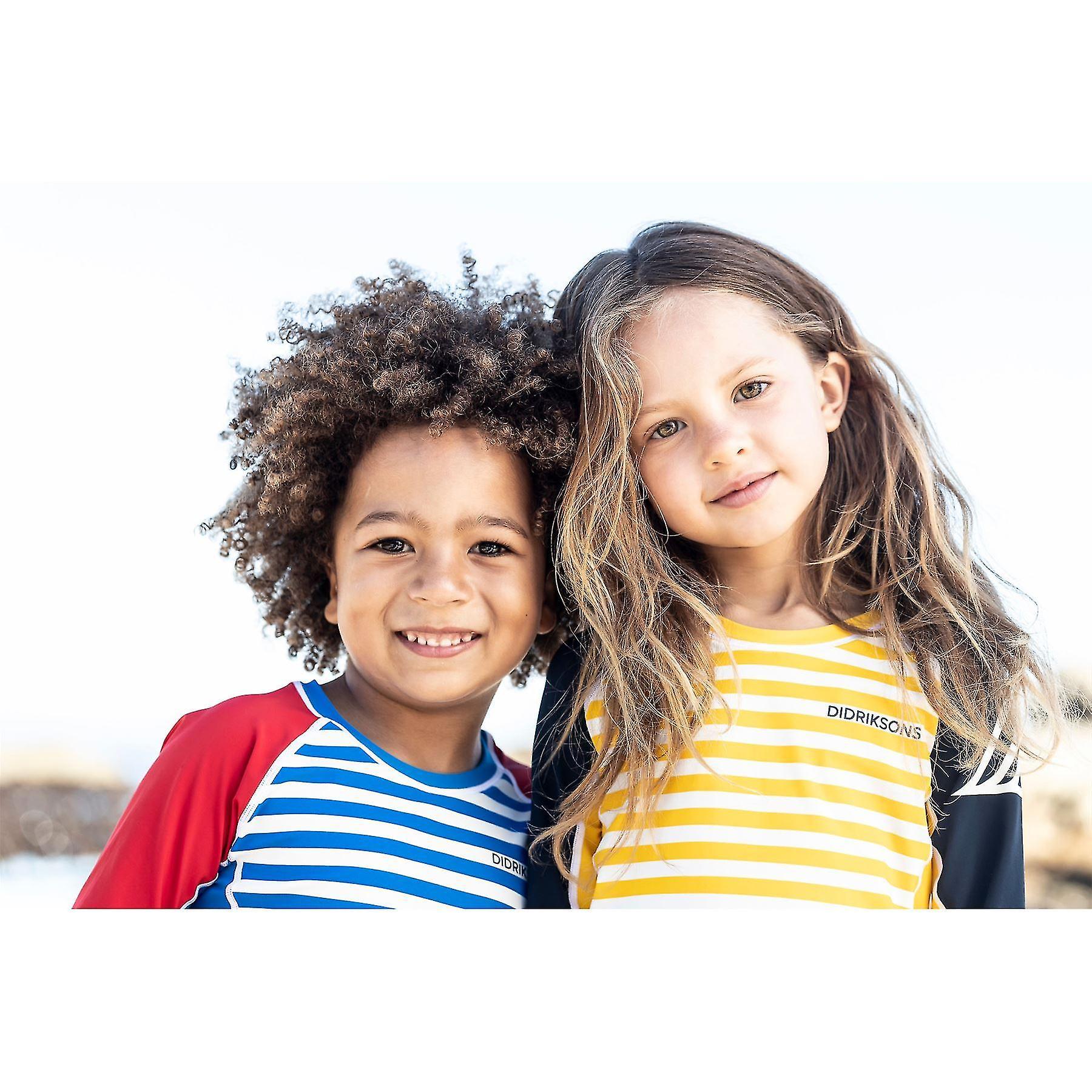 Didriksons Kids Surf Short Sleeve UPF50+ UV Sun Top | Yellow Stripe