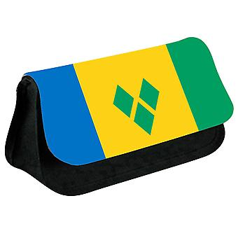 Saint Vincent and the Grenadines Flag Printed Design Pencil Case for Stationary/Cosmetic - 0148 (Black) by i-Tronixs