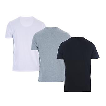 Mens Money Aurous 3 Pack T-Shirt In Black/Grey Marl/White- One T-Shirt White,