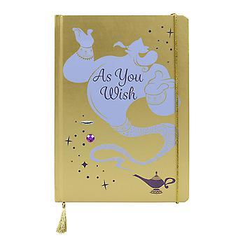 Disney Notizbuch Aladdin Genie  goldfarben/hellblau, DIN A5 Hardcover, gebunden, 240 Seiten liniert.