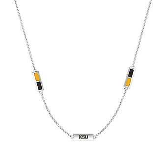 Kennesaw State University Sterling Silver Engraved Triple Station Necklace In Yellow and Black