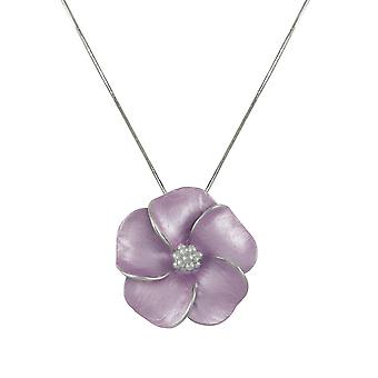 Eternal Collection Pansy Lilac Enamel Flower Silver Tone Pendant Necklace