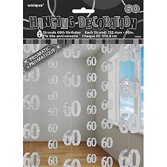 ユニークなパーティ銀の第 60 誕生日/記念日掛かる文字列の装飾