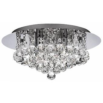 4 ljus tak semi Flush ljus krom med kristaller