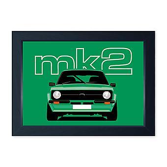 Escort Verde Mk2, Impressão de pôster emoldurada ou sem moldura - Clássico presente de arte da parede do carro