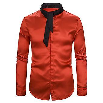 Allthemen الرجال & apos;ق قميص Colorblocked طوق عارضة قميص طويل الأكمام