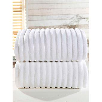 Ribbed 2 Piece Towel Bale White