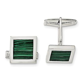 925 Sterling Silver Malachite Cuff Links Jewelry Gifts for Men