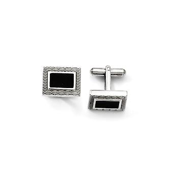 Stainless Steel Textured Polished Black Enamel Cuff Links Jewelry Gifts for Men