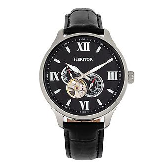Heritor Automatic Harding Semi-Skeleton Leather-Band Watch - Argent/Noir