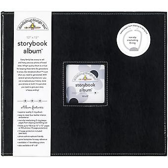 "Doodlebug Storybook D-Ring Albumi 12""X12"" - Beetle Black"