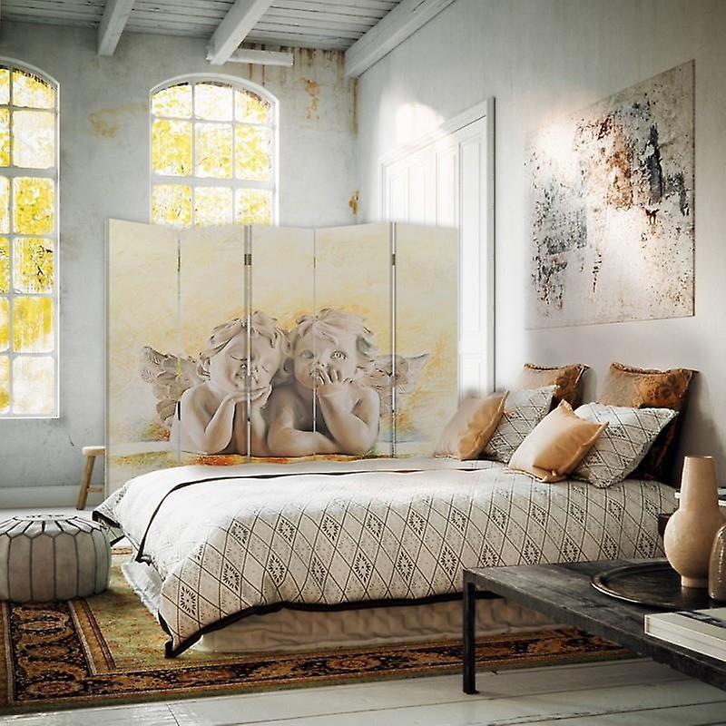 Diviseur de chambre, 5 panneaux, Double-Sided, Rotatable 360, Toile, Anges