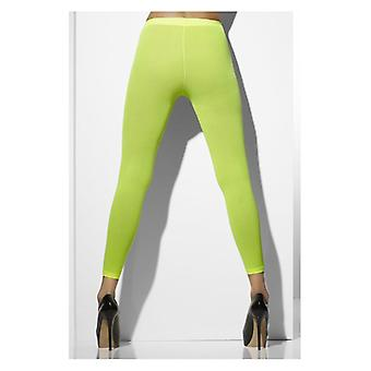 Womens Neon grün opak Footless Tights Fancy Dress Zubehör