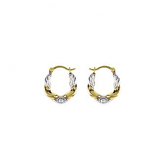 Eternity 9ct 2 Colour Gold Small Fancy Creole Hoop Earrings