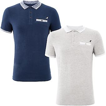 Kangol Mens Keller Big Tall King Size Short Sleeve Tipped Collar Polo Shirt Top