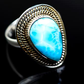 Larimar Ring 8.25 (925 Sterling Silver)  - Handmade Boho Vintage Jewelry RING977445