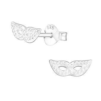 Mask - 925 Sterling Silver Plain Ear Studs - W20883X
