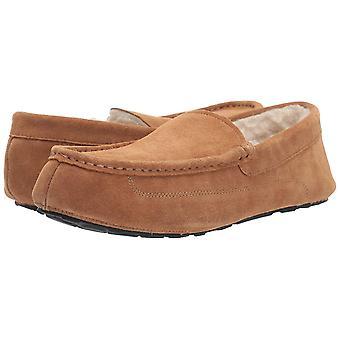 Essentials Men's Leather Moccasin Slipper, Chestnut, 12 M US