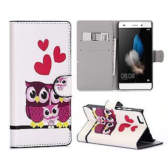 Etui Pour Huawei P8 Lite (2015) Motif Couple De Chouette