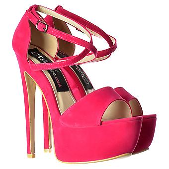 Onlineshoe Strappy Cross Over Pastel Stiletto Platform High Heel Party Shoes - Mint Suede, Fucshia Suede
