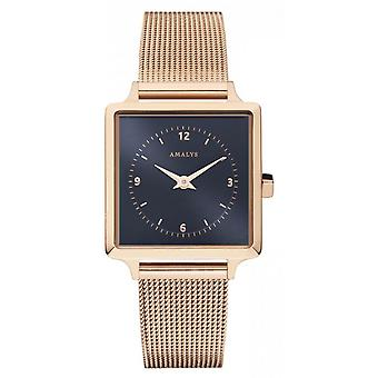 Montre Amalys SET MARGOT - Montre Set Acier IP Rose Mesh IP Rose&Bracelet Cuir Bleu Femme