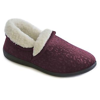 SlumberzzZ Womens 5-Way Embossed Velour Closed Slippers
